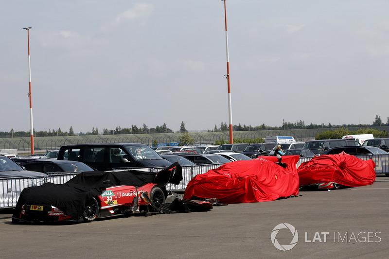 Les voitures de René Rast, Audi Sport Team Rosberg, Audi RS 5 DTM, Jamie Green, Audi Sport Team Rosberg, Audi RS 5 DTM, Nico Müller, Audi Sport Team Abt Sportsline, Audi RS 5 DTM dans le parc fermé