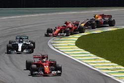 Sebastian Vettel, Ferrari SF70H, Valtteri Bottas, Mercedes AMG F1 W08, Kimi Raikkonen, Ferrari SF70H, Max Verstappen, Red Bull Racing RB13