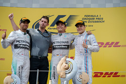 Lewis Hamilton, Mercedes AMG F1, James Vowles, Mercedes AMG F1 Chief Strategist, race winner Nico Rosberg, Mercedes AMG F1 and Valtteri Bottas, Williams celebrate on the podium