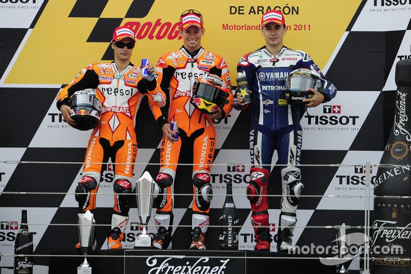 Podio: 1º Casey Stoner, 2º Dani Pedrosa, 3º Jorge Lorenzo