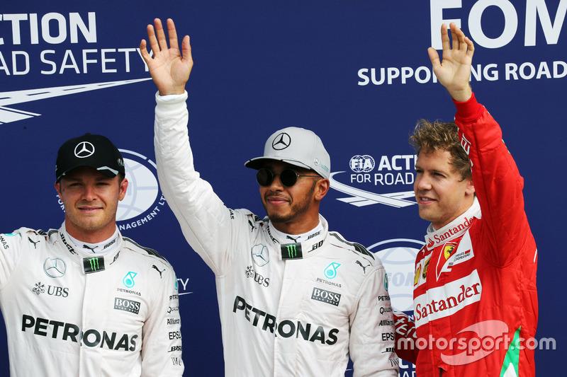 Qualifying top three in parc ferme (L to R): Nico Rosberg, Mercedes AMG F1, second; Lewis Hamilton, Mercedes AMG F1, pole position; Sebastian Vettel, Ferrari, third