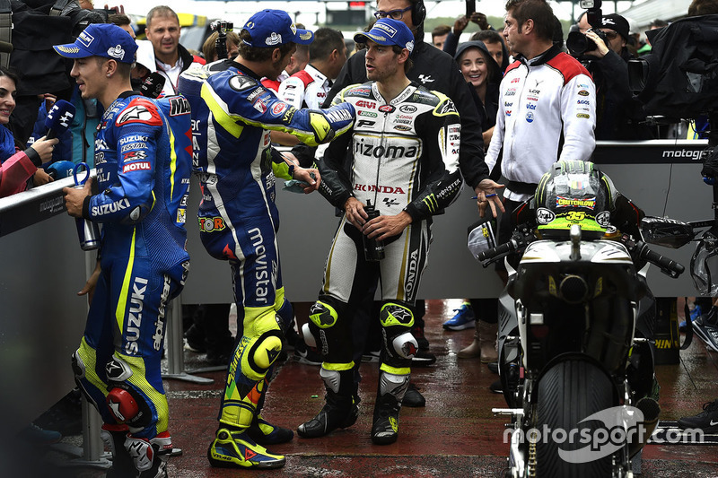 Polesitter Cal Crutchlow, Team LCR Honda, second position Valentino Rossi, Yamaha Factory Racing, third position Maverick Viñales, Team Suzuki MotoGP