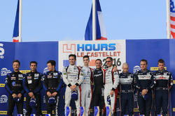 LMP3 podium: winners Eric Trouillet, Paul Petit, Enzo Guibbert, Graff Racing, second place David Hallyday, David Droux, Dino Lunardi, Duqueine Engineering, third place Alex Brundle, Mike Guasch, Christian England, United Autosports