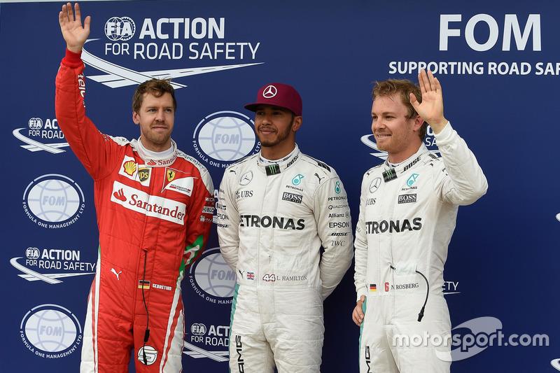 Поул-позиція Льюїс Хемілтон, Mercedes AMG F1 W07, друге місце Ніко Росберг, Mercedes AMG Petronas F1 W07 та третє місце Себастьян Феттель, Scuderia Ferrari SF16-H