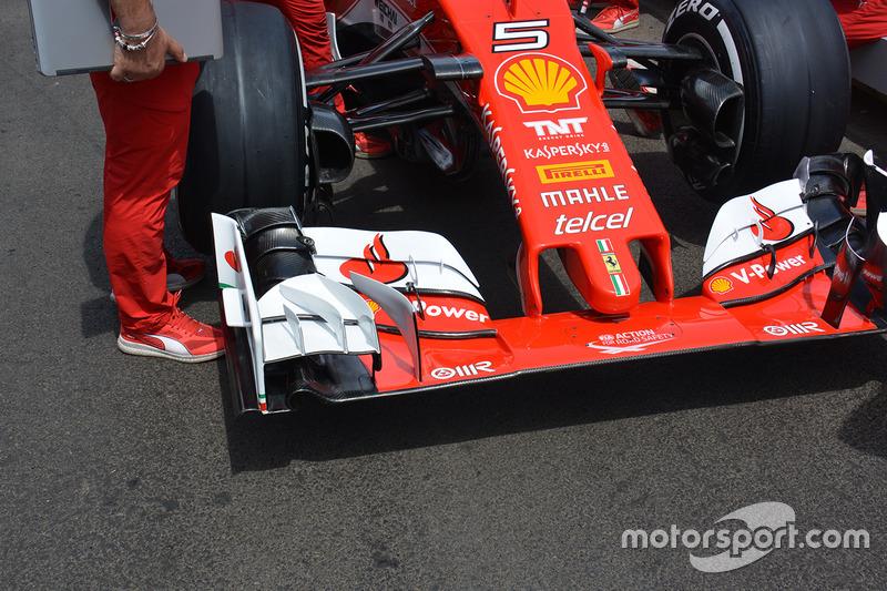 Detalle del ala delantera de Ferrari