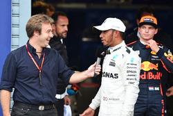 Pole sitter Lewis Hamilton, Mercedes AMG F1 talks, Davide Valsecchi, Sky Italia in parc ferme