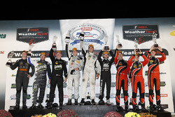 PC podium: winners Garett Grist, Tomy Drissi, John Falb, BAR1 Motorsports, second place Don Yount, Buddy Rice, Daniel Burkett, BAR1 Motorsports, third place James French, Patricio O'Ward, Kyle Masson, Performance Tech Motorsports