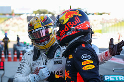 Race winner Lewis Hamilton, Mercedes AMG F1 is congratulated by Max Verstappen, Red Bull Racing and celebrates in parc ferme