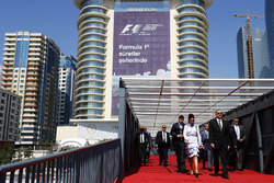 The Azerbaijan President Ilham Aliyev arrives, his entourage