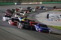 Elliott Sadler, JR Motorsports Chevrolet and Ryan Preece, Joe Gibbs Racing Toyota on a restart