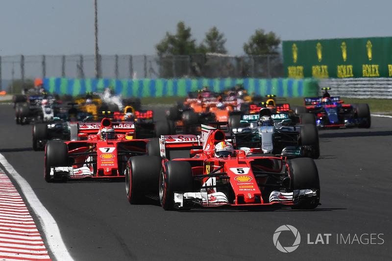 Sebastian Vettel, Ferrari SF70-H leads at the start of the race