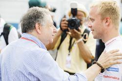 Jean Todt presidente de FIA y Felix Rosenqvist, Mahindra Racing