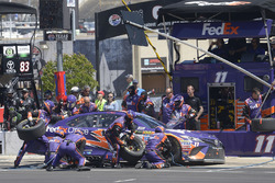 Denny Hamlin, Joe Gibbs Racing Toyota, makes a pit stop