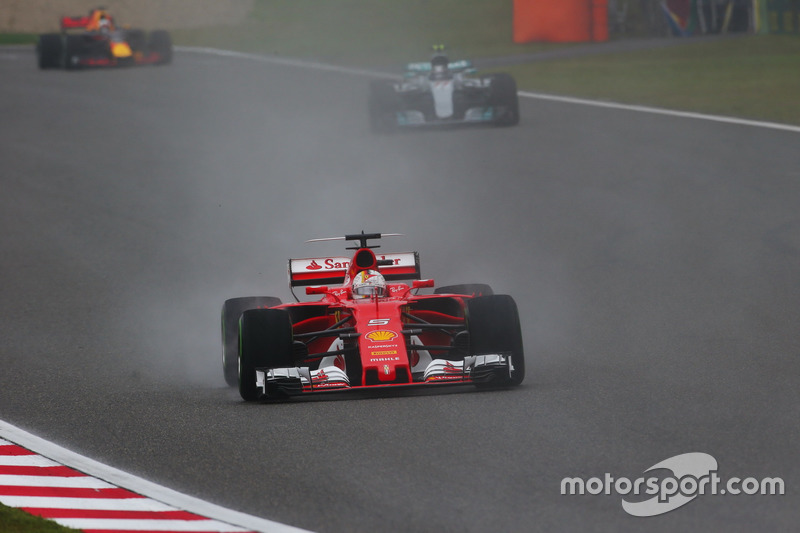 Sebastian Vettel, Ferrari SF70H, leads Valtteri Bottas, Mercedes AMG F1 W08
