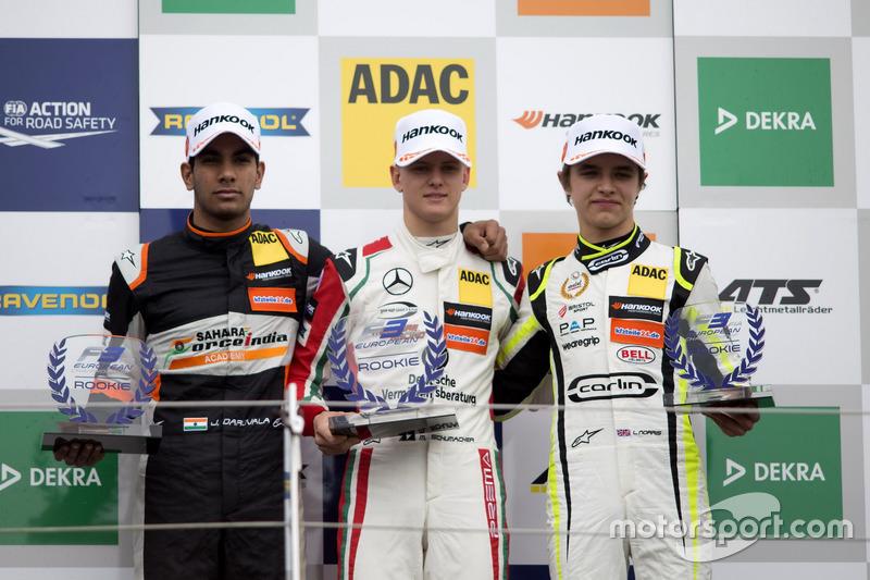 Rookie Podium: first place Mick Schumacher, Prema Powerteam, Dallara F317 - Mercedes-Benz, second place Jehan Daruvala, Carlin, Dallara F317 - Volkswagen, third place Lando Norris, Carlin, Dallara F317 – Volkswagen