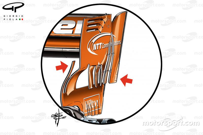 McLaren MCL32, alerón trasero en el GP de Bahrein