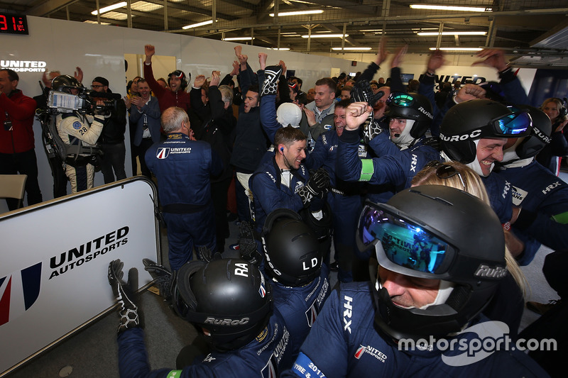 United Autosports team members celebrate the win