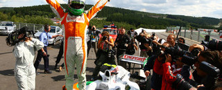 Formula 1 Fisichella nabs first Force India pole in Belgium