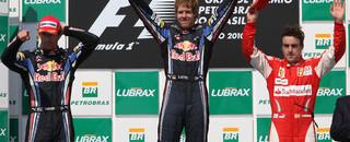 Formula 1 Vettel leads Webber across the line for Brazilian GP win