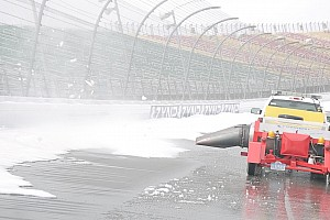 NASCAR Cup Special feature MIS uses jets dryers to melt snow in preparation for the 2014 season - video