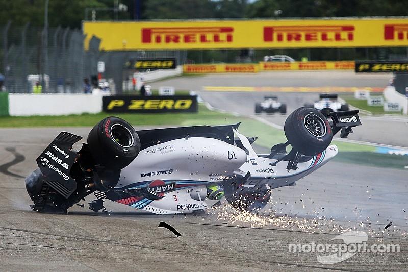 Massa flips on opening lap of German GP - video