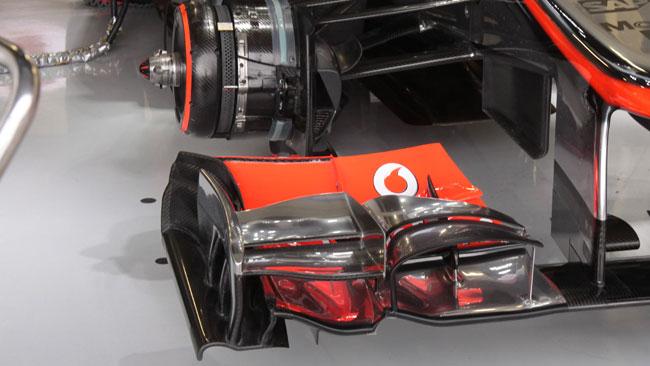 La McLaren con le prese dei freni anteriori regolabili
