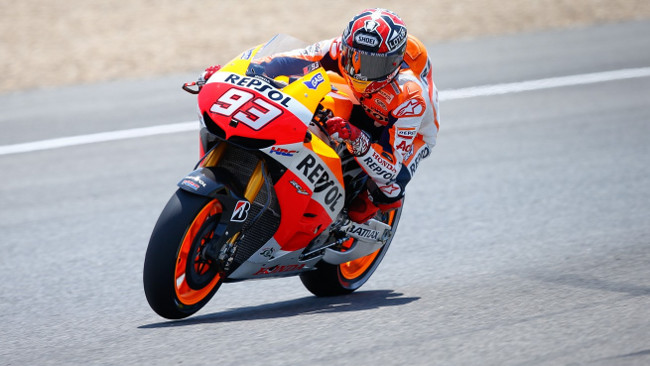 Marc Marquez all'ultimo giro nel warm up
