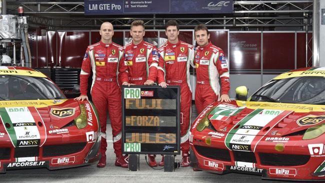 Un messaggio per Bianchi dai piloti Ferrari nel WEC