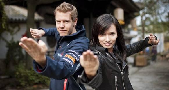 'Kung Fu Vettel' kamera karşısında