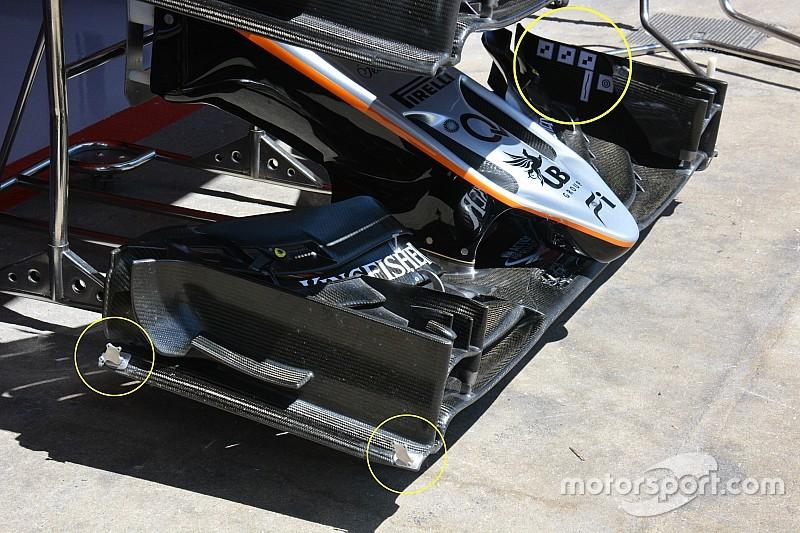 Tech update: Force India test nieuwe voorvleugel in Barcelona