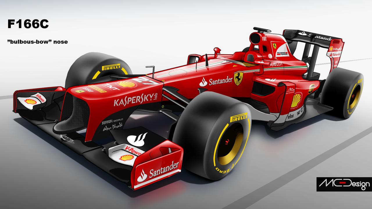 """Így nézhet ki a 2014-es F1-es Ferrari az új """"kacsa orral"""": Alonso és Raikkönen autója"""