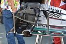 Mercedes: la paratia laterale dell'ala anteriore è staccata dal profilo!