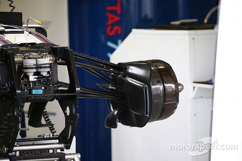 Técnica: tomas de los frenos delanteros del Williams FW38 en México