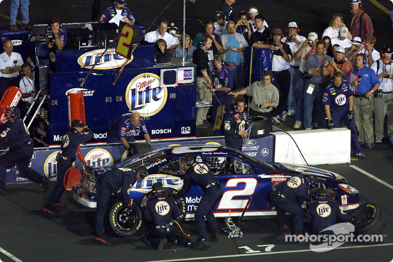 Rusty Wallace pits on his way to a 3rd place finish