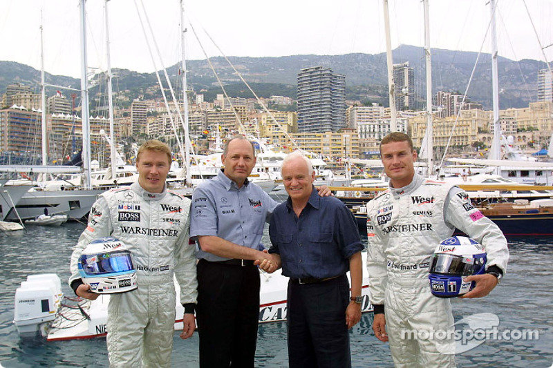 Mika Hakkinen, David Coulthard and Ron Dennis with Werner Baldessarini, CEO of Hugo Boss