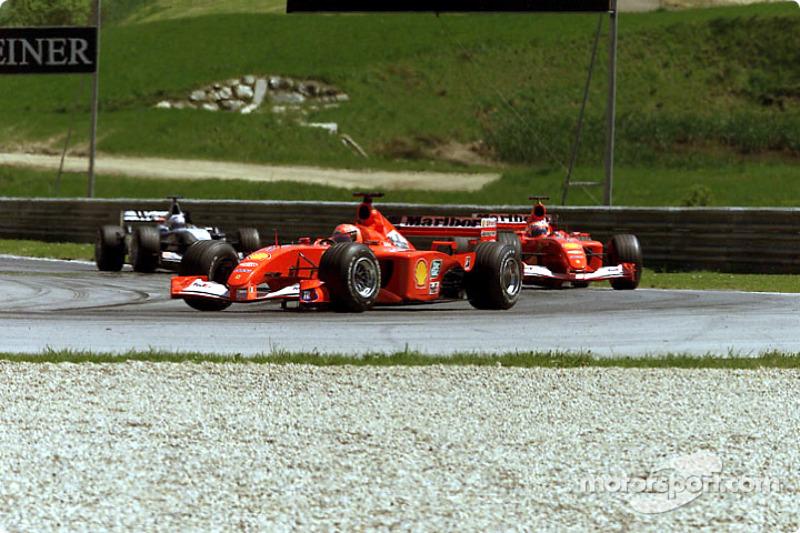 Michael Schumacher, Rubens Barrichello and David Coulthard