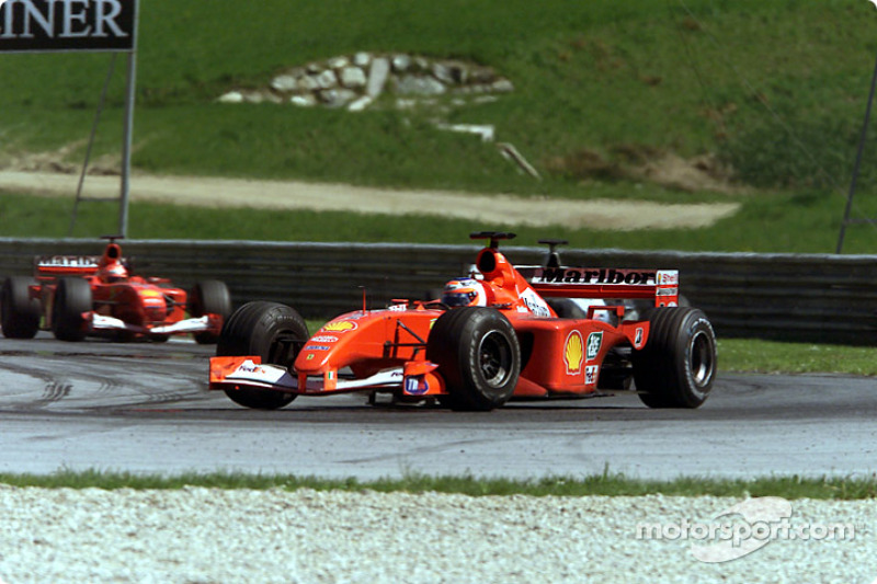 Rubens Barrichello, in front of David Coulthard and Michael Schumacher