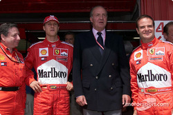Jean Todt, Michael Schumacher, the King Juan Carlos and Rubens Barrichello