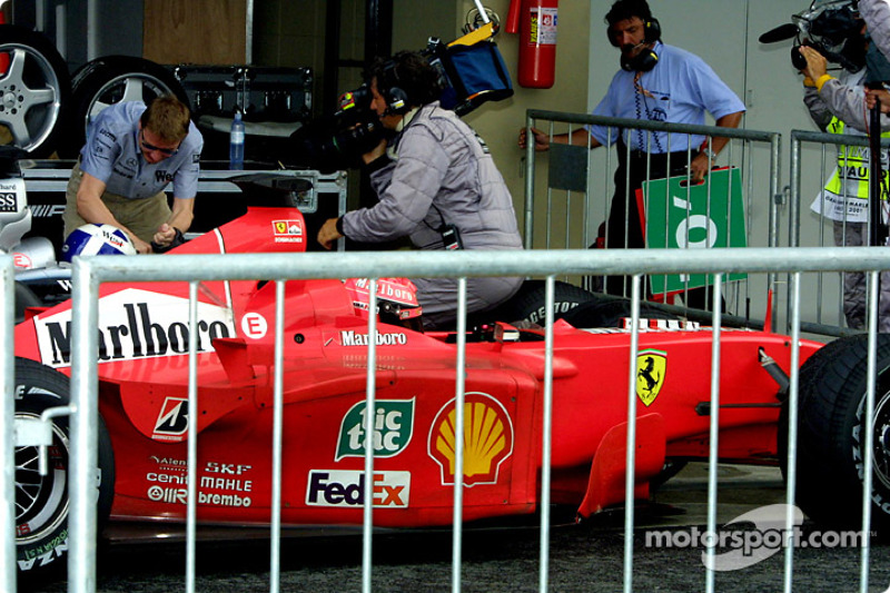David Coulthard and Michael Schumacher in the parc ferme