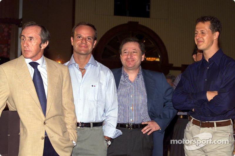 Jackie Stewart, Rubens Barrichello, Jean Todt and Michael Schumacher
