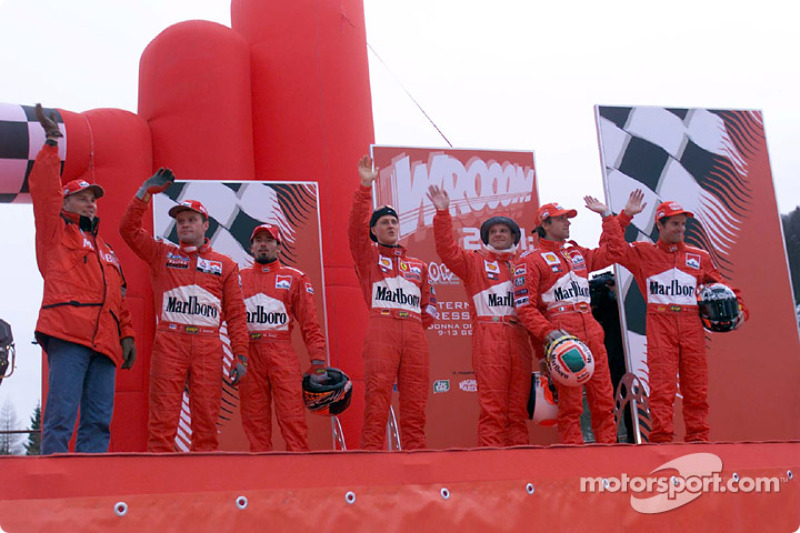 The drivers at the karting exhibition: Michael Schumacher, Luca Badoer, Rubens Barrichello, Max Biag