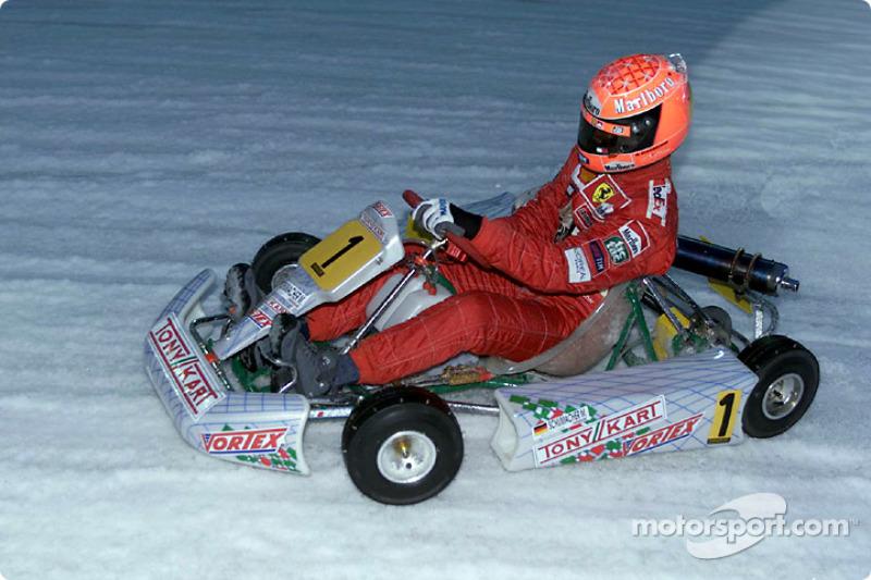 Michael Schumacher driving karting exhibition