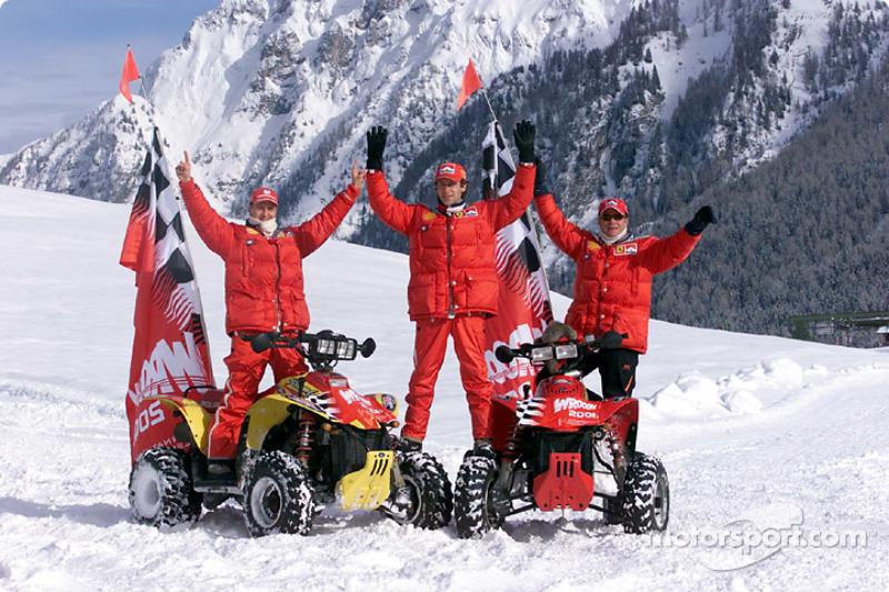 Michael Schumacher, Luca Badoer and Rubens Barrichello
