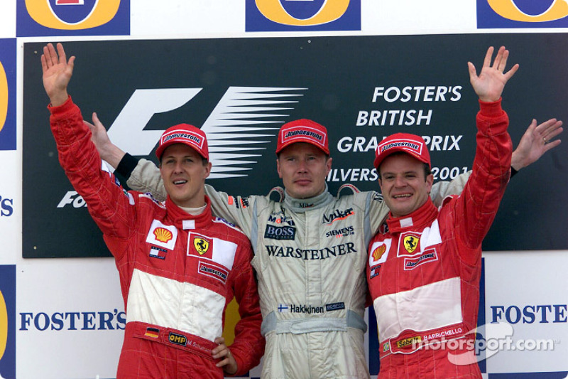2001: 1. Мика Хаккинен, 2. Михаэль Шумахер, 3. Рубенс Баррикелло