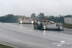 The LMP900 Cadillacs cresting a hill