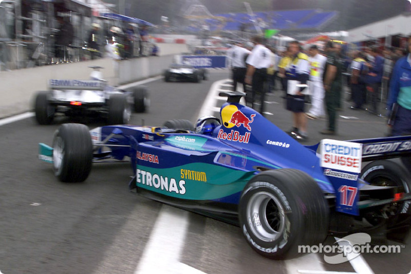 Kimi Raikkonen leaving pit