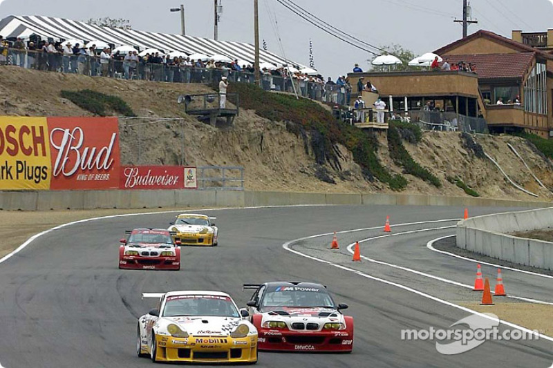GT battle between the BMWs and the Porsches