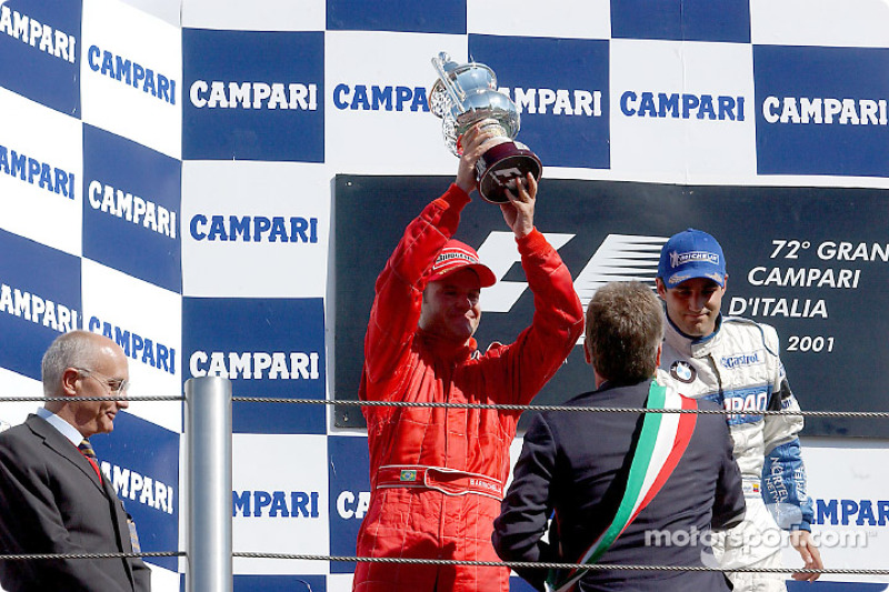 The podium: Rubens Barrichello and Juan Pablo Montoya