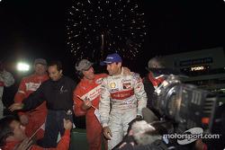 Emanuele Pirro celebrating