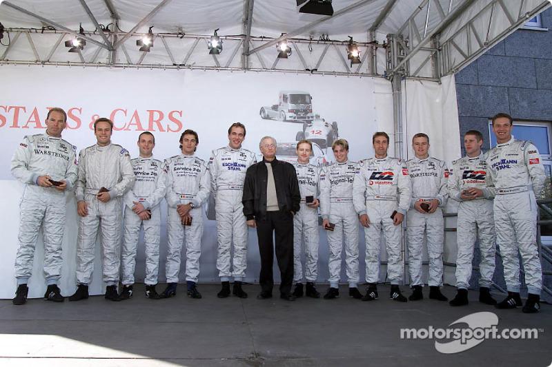 Prof. Jurgen Hubbert with Mercedes-Benz DTM drivers Uwe Alzen, Marcel Tiemann, Darren Turner, David